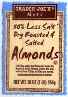 50% Less Salt Dry Roasted And Salted Almmonds - 16oz (1lb) 454g