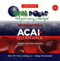 Açai + Guarana Frozen Smoothie Pouches - 14oz (400g) 4-100g Pouches