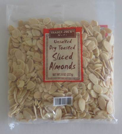 Unsalted Dry Toasted Sliced Almonds - 8